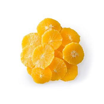 Apelsin skalad skivad